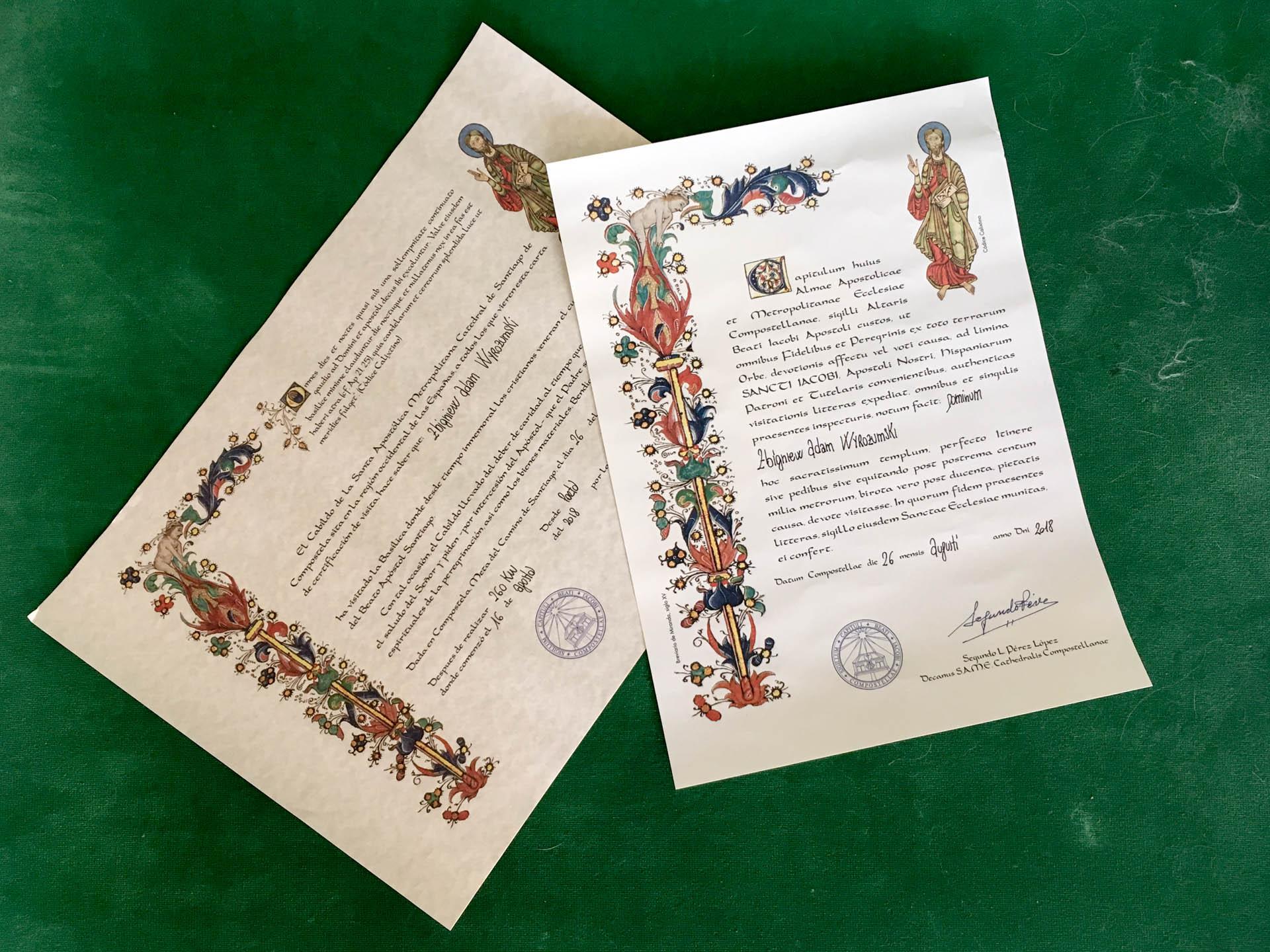 certyfikaty poświadczające ukończenie Camino de Santiago