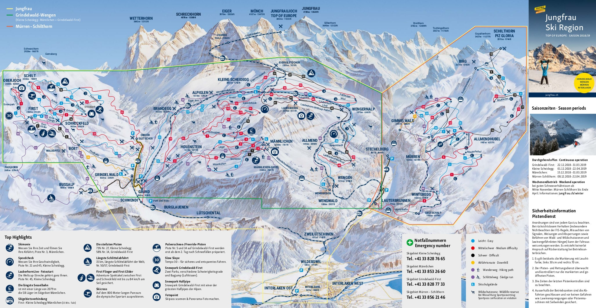 Grindelwald i okolice - mapa regionu zimą